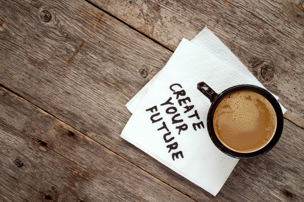 Create your life advice or suggestion on a napkin with a cup of coffee